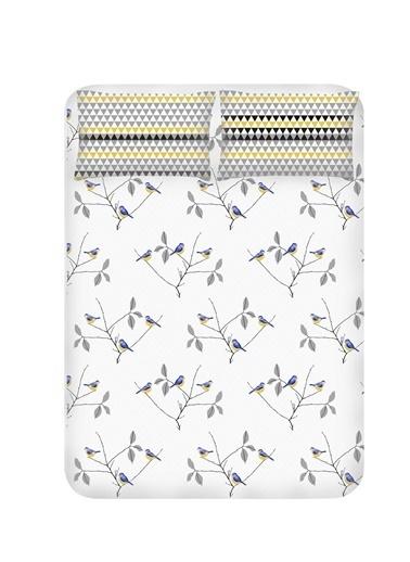 EnLora Home Enlora %100 Doğal Pamuk Çarşaf+Yastık Seti Çift Kişilik Pavlina  Beyaz